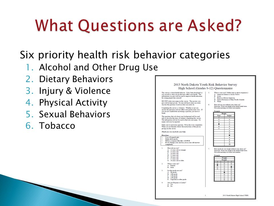 Six priority health risk behavior categories 1.Alcohol and Other Drug Use 2.Dietary Behaviors 3.Injury & Violence 4.Physical Activity 5.Sexual Behaviors 6.Tobacco