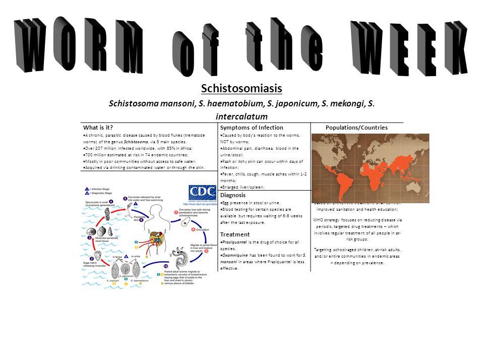 Schistosomiasis Schistosoma mansoni, S. haematobium, S.