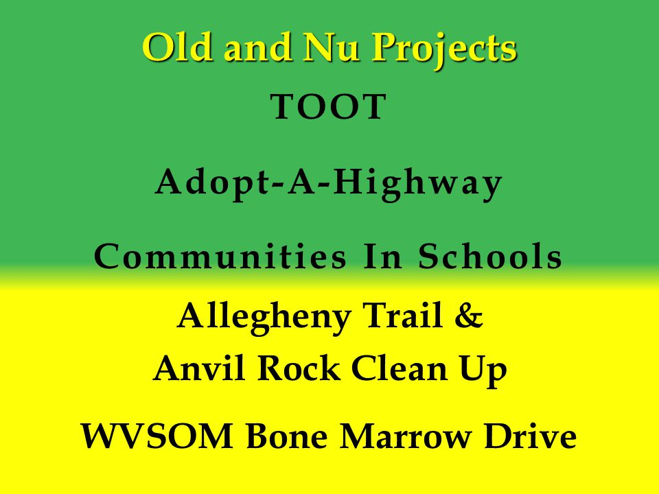 Old and Nu Projects TOOT Adopt-A-Highway Communities In Schools Allegheny Trail & Anvil Rock Clean Up WVSOM Bone Marrow Drive