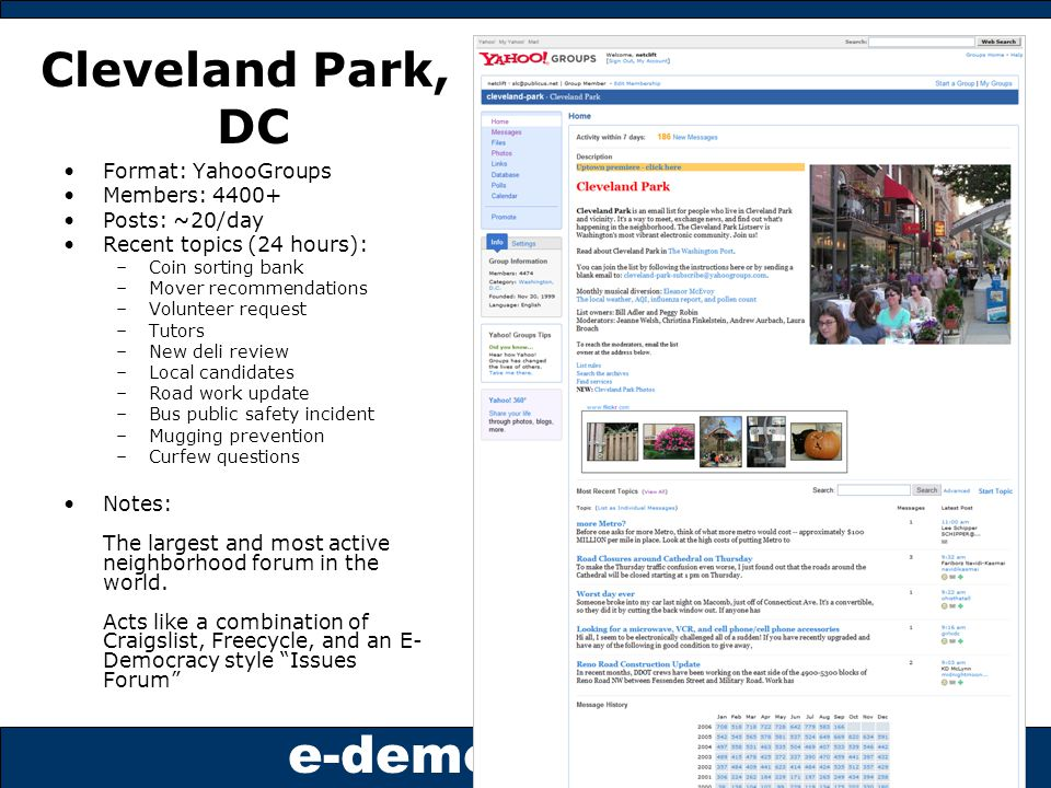 e-democracy.org Cleveland Park, DC Format: YahooGroups Members: 4400+ Posts: ~20/day Recent topics (24 hours): –Coin sorting bank –Mover recommendations –Volunteer request –Tutors –New deli review –Local candidates –Road work update –Bus public safety incident –Mugging prevention –Curfew questions Notes: The largest and most active neighborhood forum in the world.