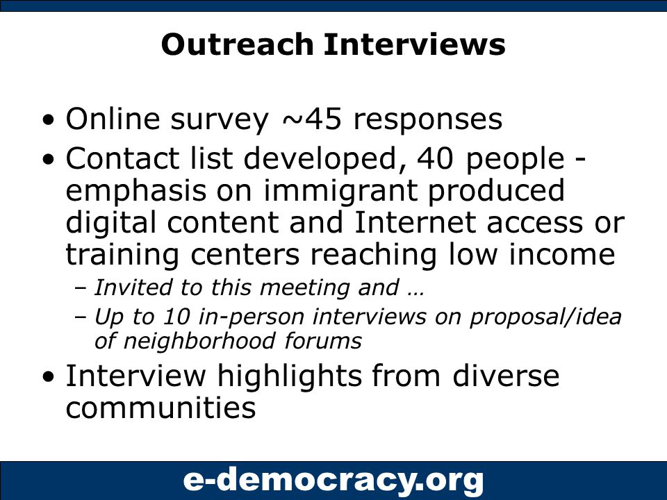 e-democracy.org Learning from leading online neighborhood forums?