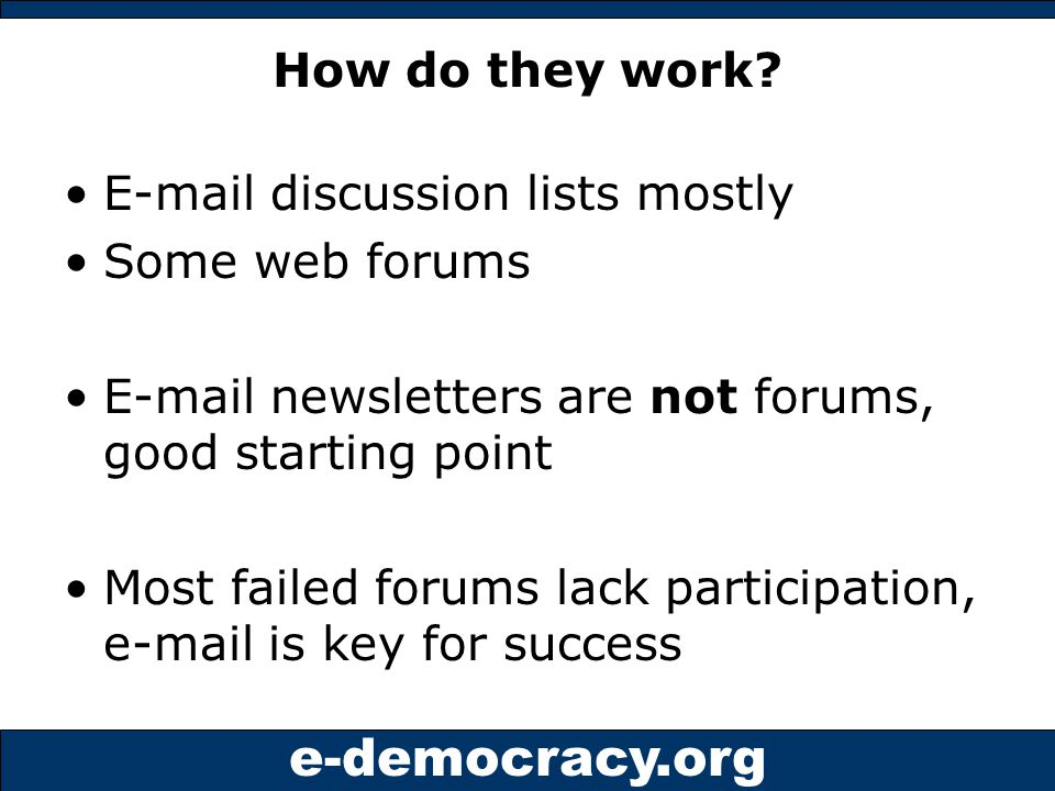 e-democracy.org Visualizing neighborhood forums City Hall Secondary Networks e-mail forwards NHood Org Personal Networks Local Media Coverage Librarian NHood Paper Arts Group City Councilor Neighbor #2 Local Biz Neighbor #1 City Staff Neighborhood Leader Renter Forum Manager Neighbor #200 Police NeighborsNeighbors NHood Forum GroupServer e-mails posts web view Subscribe once Commitment secured Post via e-mail/web New Resident