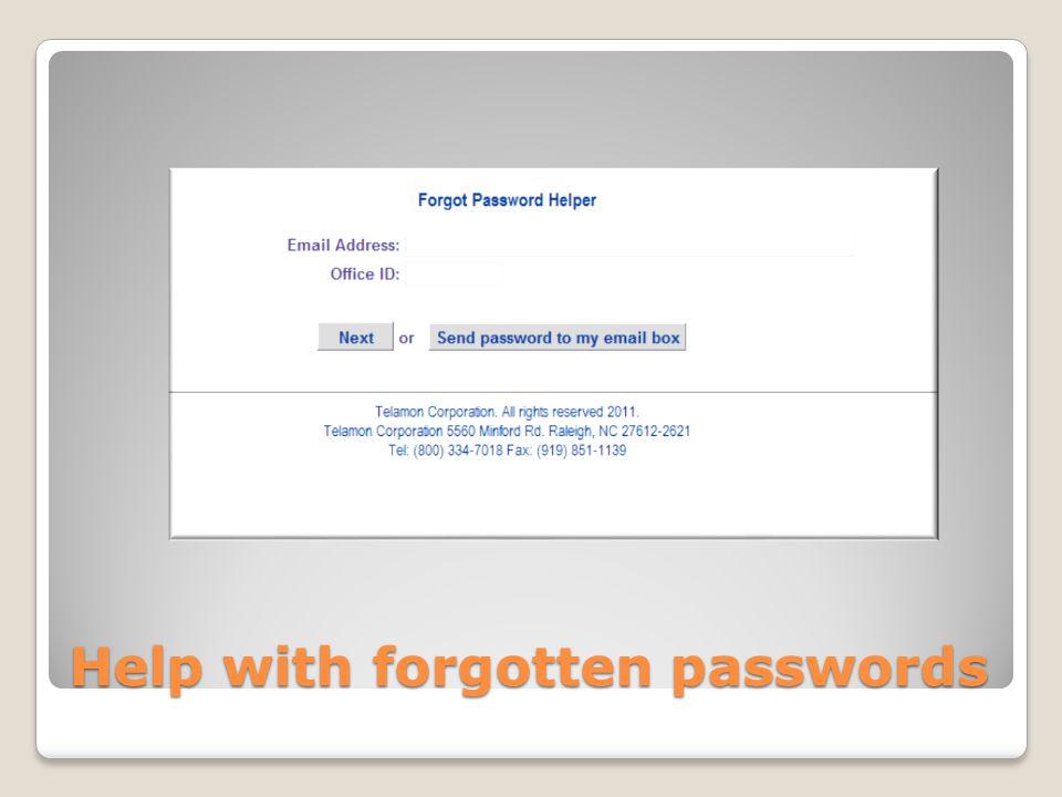 Help with forgotten passwords