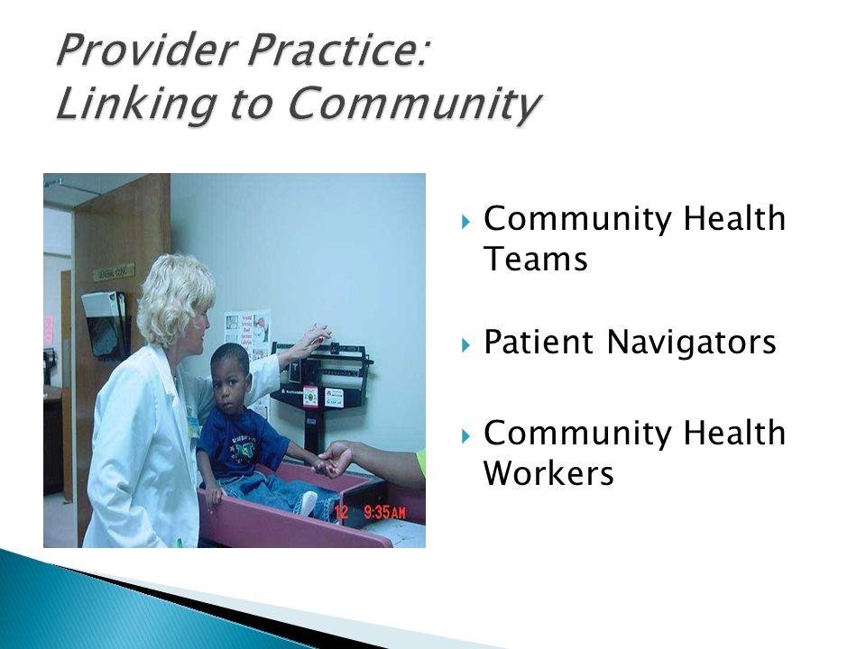  Community Health Teams  Patient Navigators  Community Health Workers