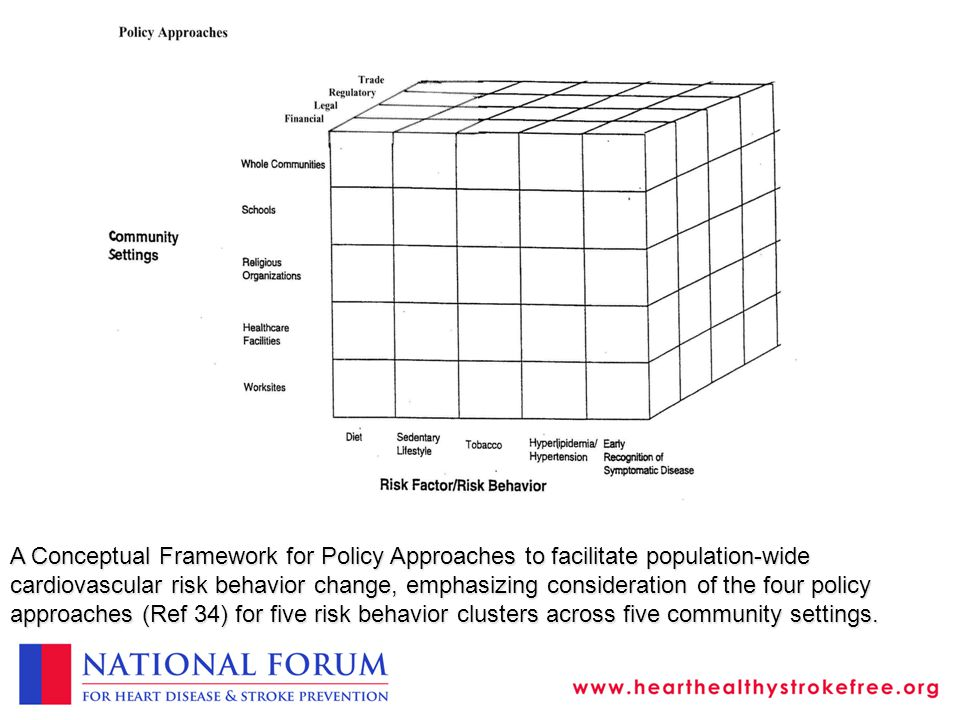 A Conceptual Framework for Policy Approaches to facilitate population-wide cardiovascular risk behavior change, emphasizing consideration of the four policy approaches (Ref 34) for five risk behavior clusters across five community settings.
