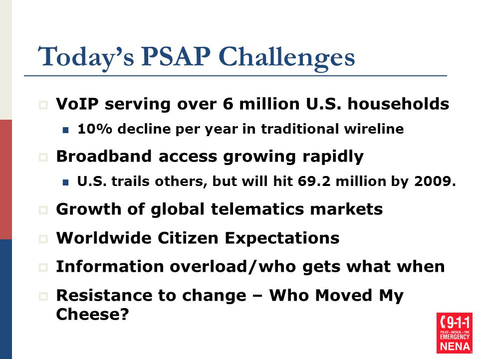 Today's PSAP Challenges  VoIP serving over 6 million U.S. households 10% decline per year in traditional wireline  Broadband access growing rapidly