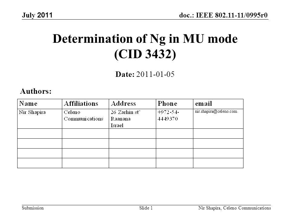 doc.: IEEE 802.11-11/0995r0 Submission July 2011 Nir Shapira, Celeno Communications Determination of Ng in MU mode (CID 3432) Date: 2011-01-05 Authors: Slide 1