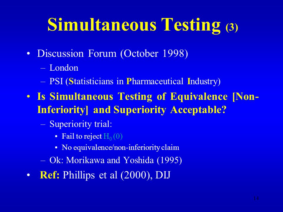 14 Simultaneous Testing (3) Discussion Forum (October 1998) –London –PSI (Statisticians in Pharmaceutical Industry) Is Simultaneous Testing of Equivalence [Non- Inferiority] and Superiority Acceptable.