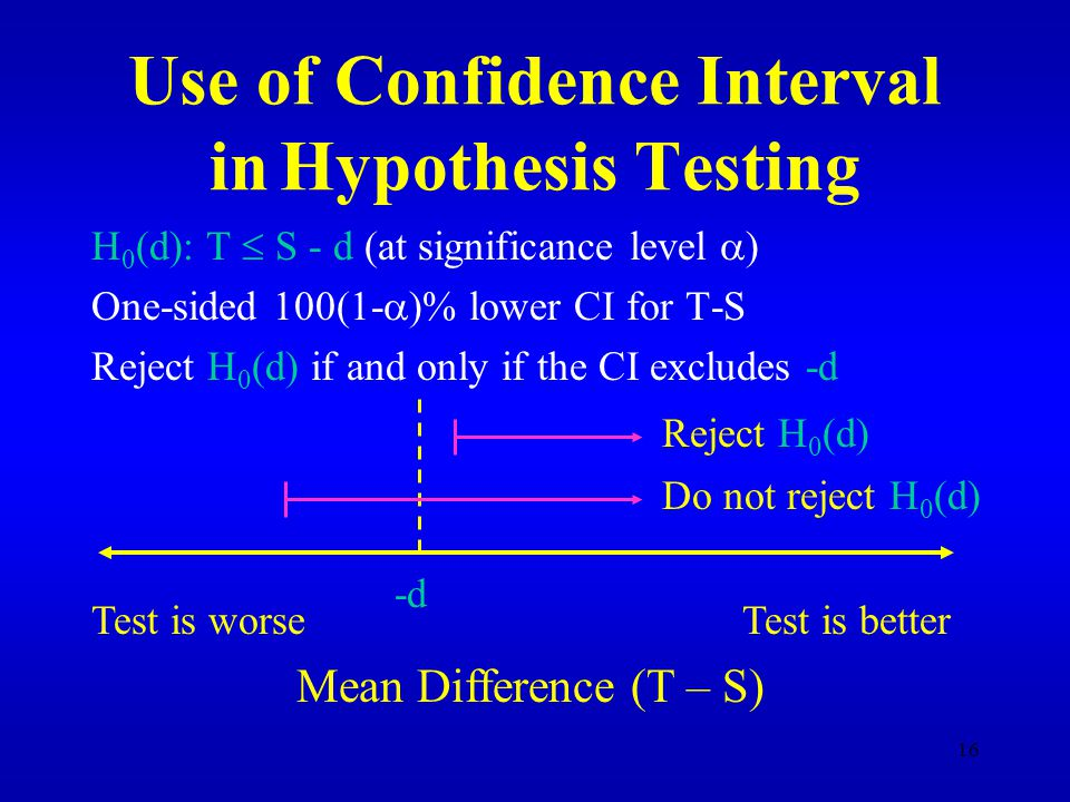 16 Use of Confidence Interval in Hypothesis Testing H 0 (d): T  S - d (at significance level  ) One-sided 100(1-  )% lower CI for T-S Reject H 0 (d) if and only if the CI excludes -d Test is worseTest is better Mean Difference (T – S) -d Reject H 0 (d) Do not reject H 0 (d)