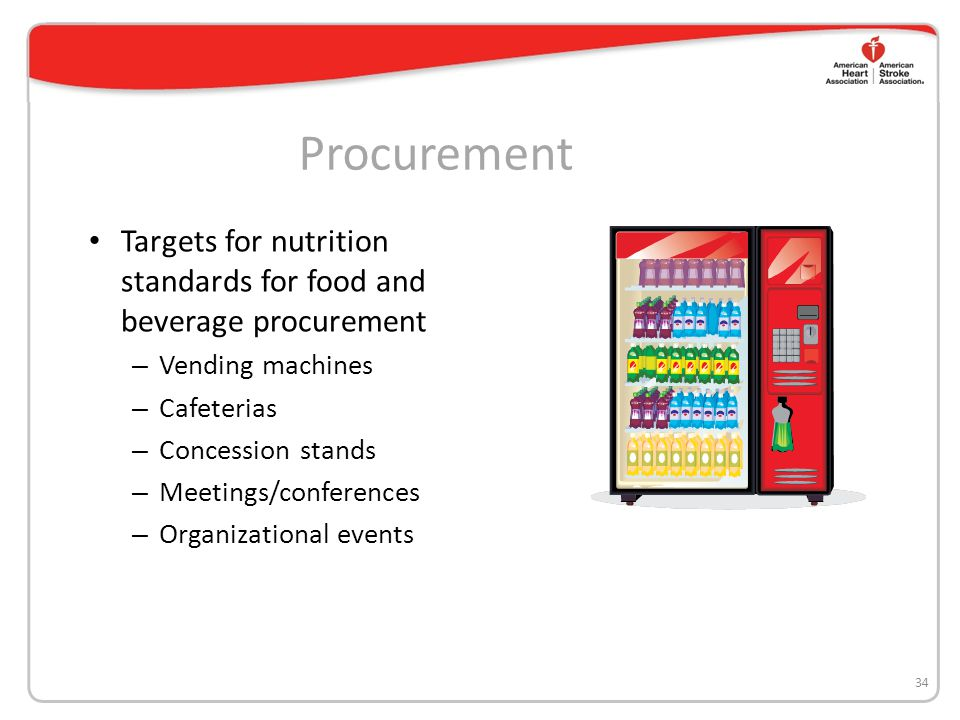 Procurement Targets for nutrition standards for food and beverage procurement – Vending machines – Cafeterias – Concession stands – Meetings/conferenc