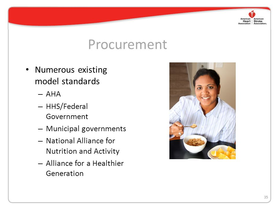Procurement Numerous existing model standards – AHA – HHS/Federal Government – Municipal governments – National Alliance for Nutrition and Activity –