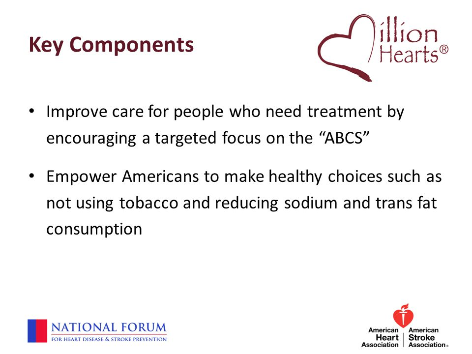 "Key Components Improve care for people who need treatment by encouraging a targeted focus on the ""ABCS"" Empower Americans to make healthy choices such"