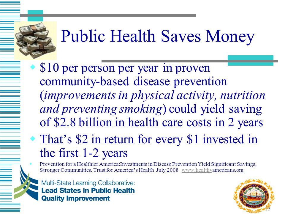 15 Public Health Saves Money  $10 per person per year in proven community-based disease prevention (improvements in physical activity, nutrition and