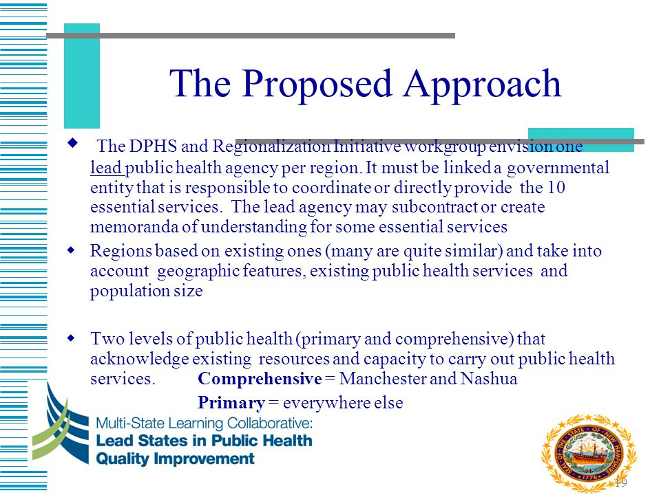 19 The Proposed Approach  The DPHS and Regionalization Initiative workgroup envision one lead public health agency per region. It must be linked a go