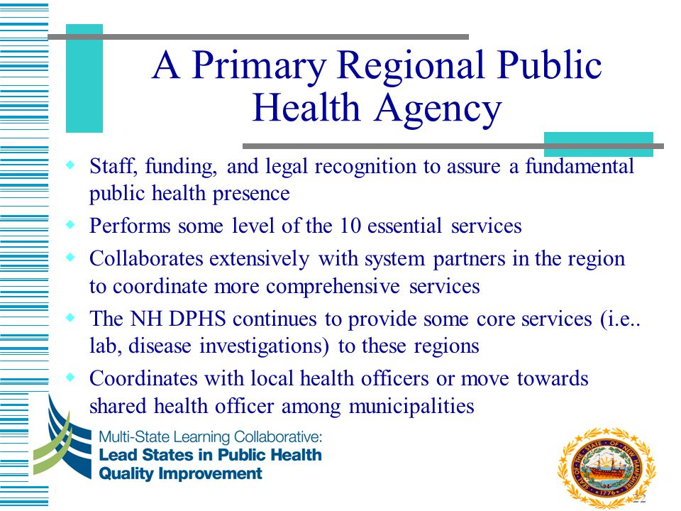 22 A Primary Regional Public Health Agency  Staff, funding, and legal recognition to assure a fundamental public health presence  Performs some leve