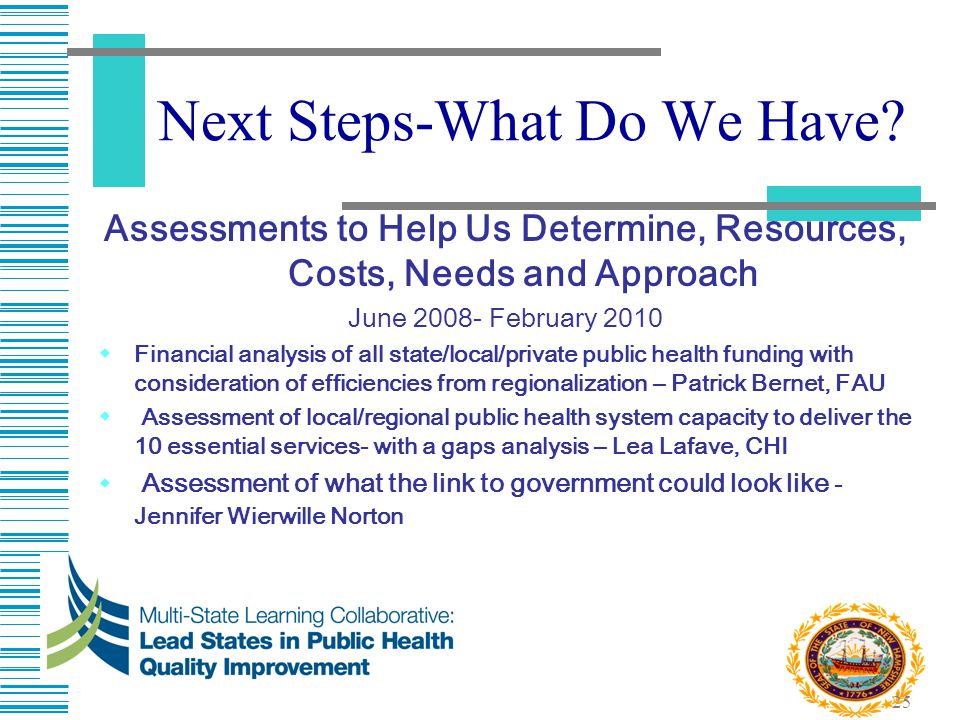 25 Next Steps-What Do We Have? Assessments to Help Us Determine, Resources, Costs, Needs and Approach June 2008- February 2010  Financial analysis of