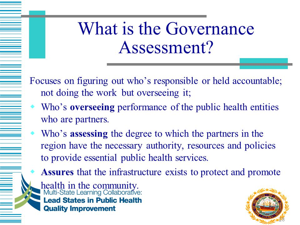 28 What is the Governance Assessment? Focuses on figuring out who's responsible or held accountable; not doing the work but overseeing it;  Who's ove
