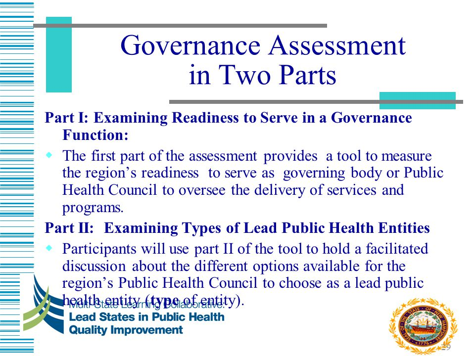 29 Governance Assessment in Two Parts Part I: Examining Readiness to Serve in a Governance Function:  The first part of the assessment provides a too