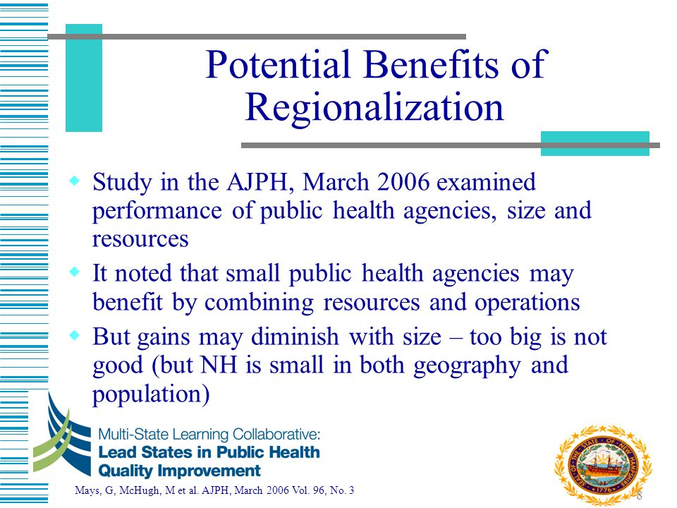 9 Regionalization Goal  Overall Goal – A performance-based public health delivery system, which provides all 10 essential public health services throughout New Hampshire  Provide high quality public health based on national standards