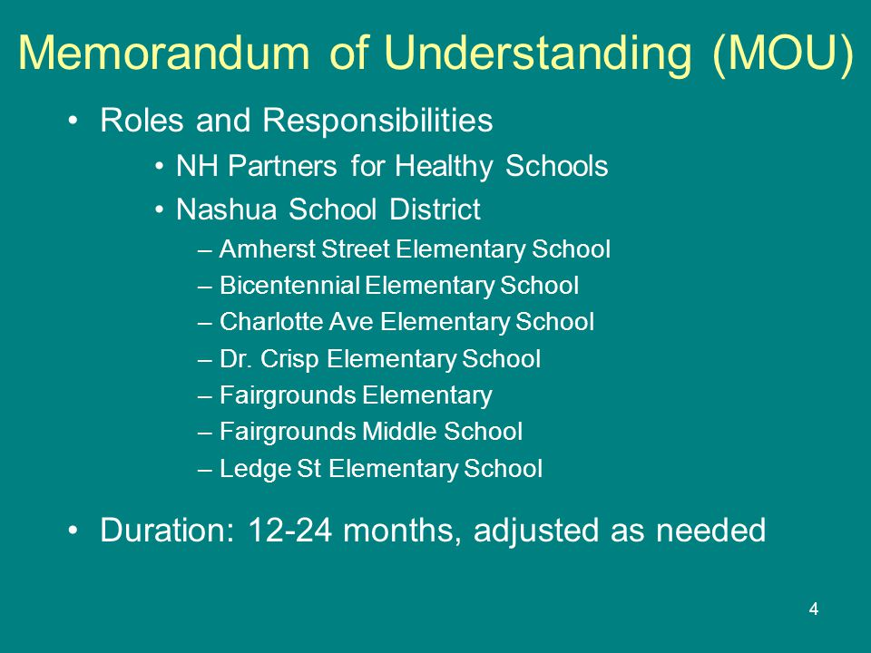 4 Memorandum of Understanding (MOU) Roles and Responsibilities NH Partners for Healthy Schools Nashua School District –Amherst Street Elementary School –Bicentennial Elementary School –Charlotte Ave Elementary School –Dr.