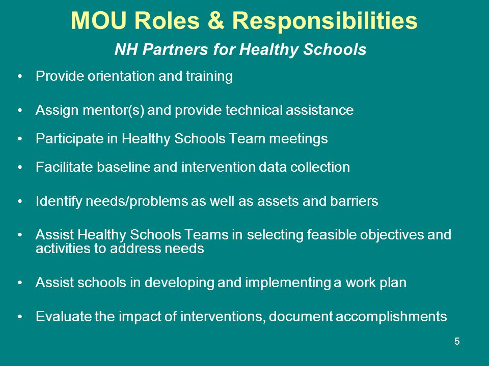 5 MOU Roles & Responsibilities NH Partners for Healthy Schools Provide orientation and training Assign mentor(s) and provide technical assistance Participate in Healthy Schools Team meetings Facilitate baseline and intervention data collection Identify needs/problems as well as assets and barriers Assist Healthy Schools Teams in selecting feasible objectives and activities to address needs Assist schools in developing and implementing a work plan Evaluate the impact of interventions, document accomplishments
