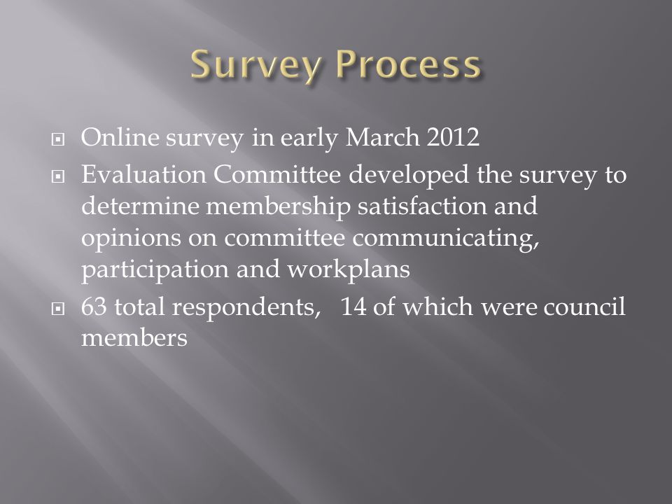  Online survey in early March 2012  Evaluation Committee developed the survey to determine membership satisfaction and opinions on committee communicating, participation and workplans  63 total respondents, 14 of which were council members