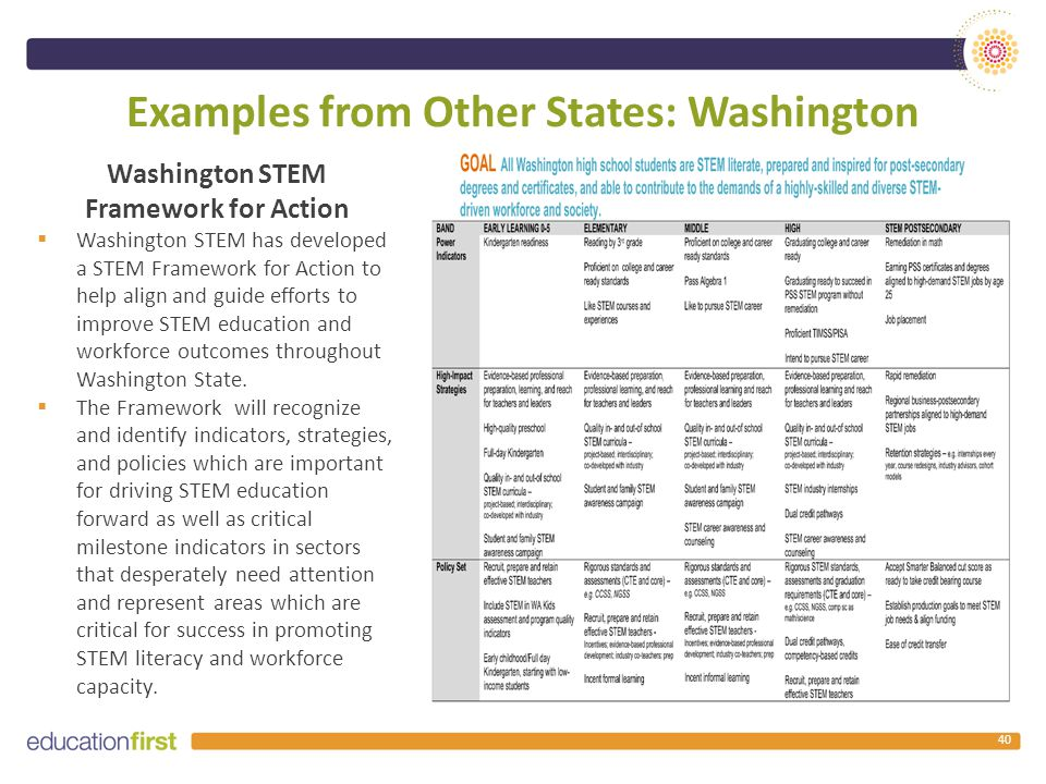 Examples from Other States: Washington Washington STEM Framework for Action  Washington STEM has developed a STEM Framework for Action to help align and guide efforts to improve STEM education and workforce outcomes throughout Washington State.
