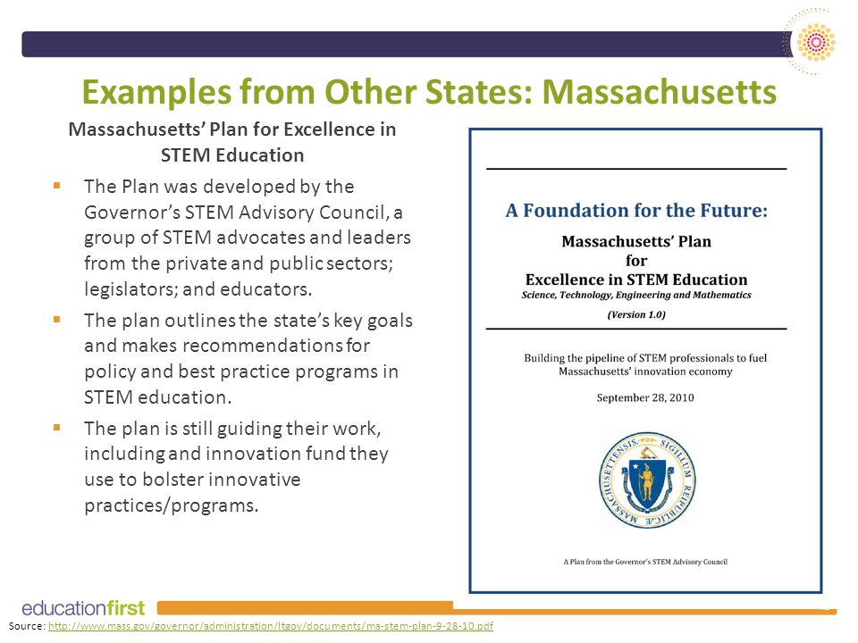 Examples from Other States: Massachusetts Massachusetts' Plan for Excellence in STEM Education  The Plan was developed by the Governor's STEM Advisory Council, a group of STEM advocates and leaders from the private and public sectors; legislators; and educators.