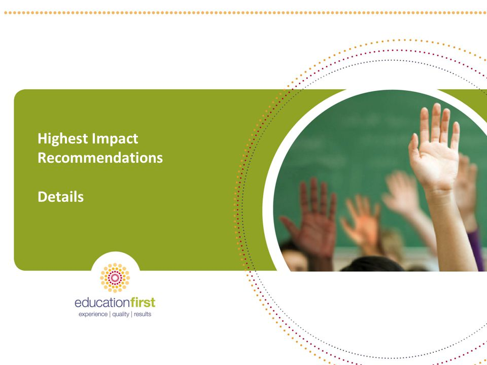 9 Highest Impact Recommendations Details