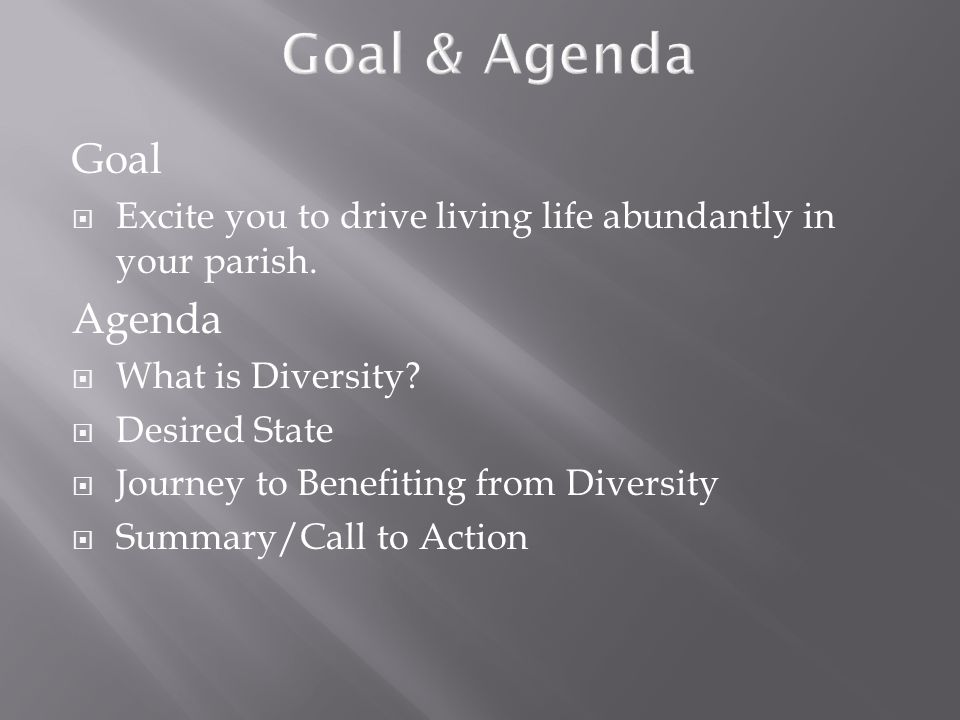 Goal  Excite you to drive living life abundantly in your parish. Agenda  What is Diversity?  Desired State  Journey to Benefiting from Diversity 