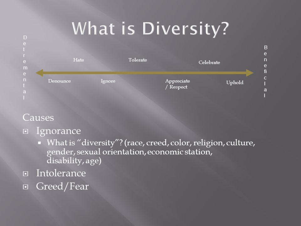 Causes  Ignorance  What is diversity .