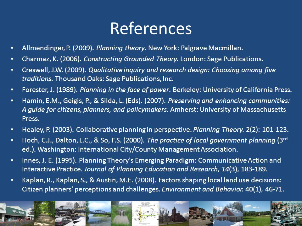 References Allmendinger, P. (2009). Planning theory.