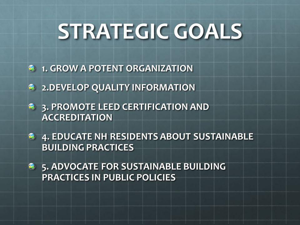STRATEGIC GOALS 1. GROW A POTENT ORGANIZATION 2.DEVELOP QUALITY INFORMATION 3.