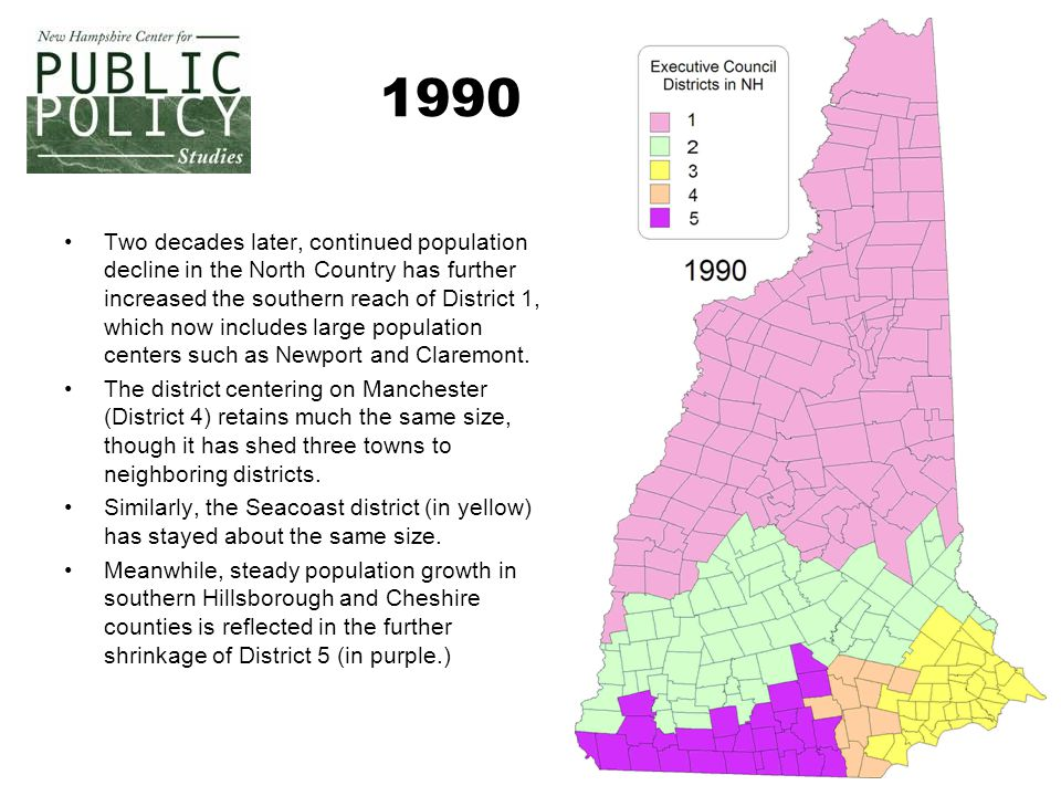 5 1990 Two decades later, continued population decline in the North Country has further increased the southern reach of District 1, which now includes large population centers such as Newport and Claremont.