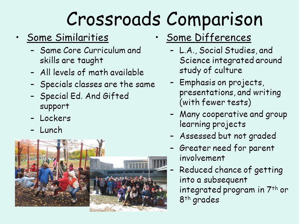 Crossroads Comparison Some Similarities –Same Core Curriculum and skills are taught –All levels of math available –Specials classes are the same –Special Ed.