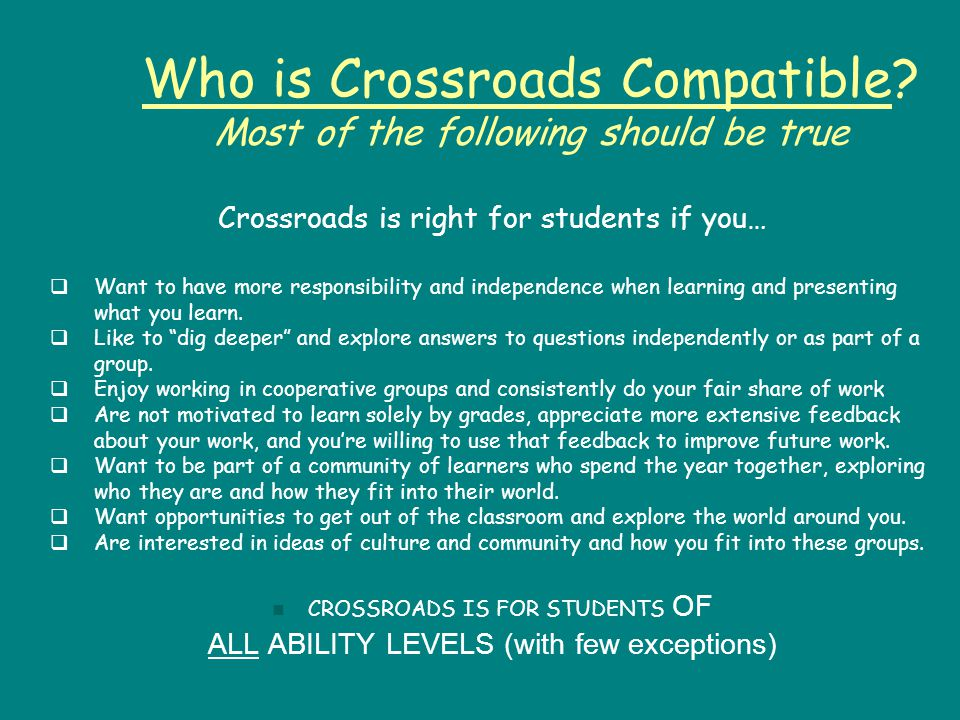 Who is Crossroads Compatible.