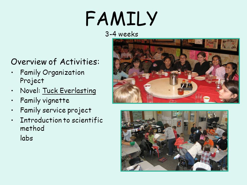 FAMILY 3-4 weeks Overview of Activities: Family Organization Project Novel: Tuck Everlasting Family vignette Family service project Introduction to scientific method labs