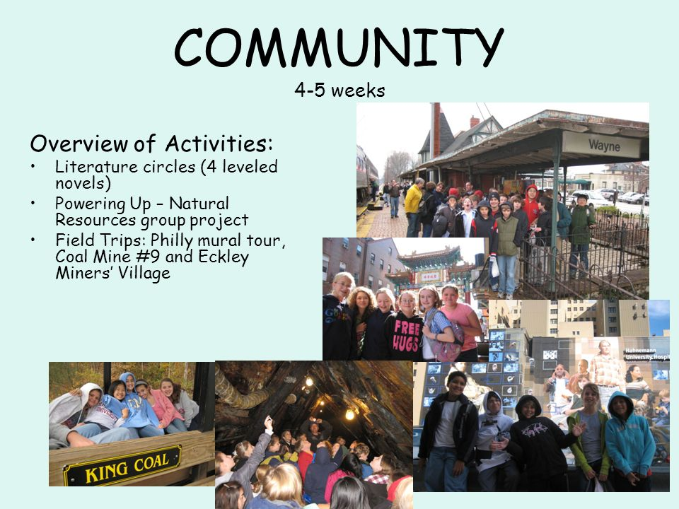COMMUNITY 4-5 weeks Overview of Activities: Literature circles (4 leveled novels) Powering Up – Natural Resources group project Field Trips: Philly mural tour, Coal Mine #9 and Eckley Miners' Village