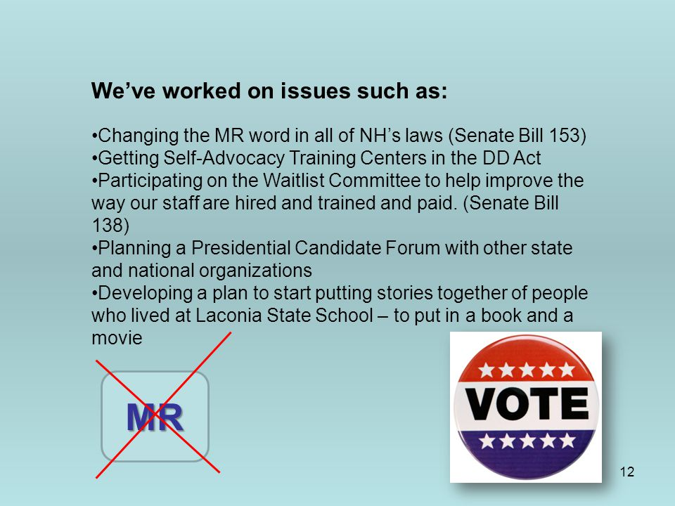 12 We've worked on issues such as: Changing the MR word in all of NH's laws (Senate Bill 153) Getting Self-Advocacy Training Centers in the DD Act Par