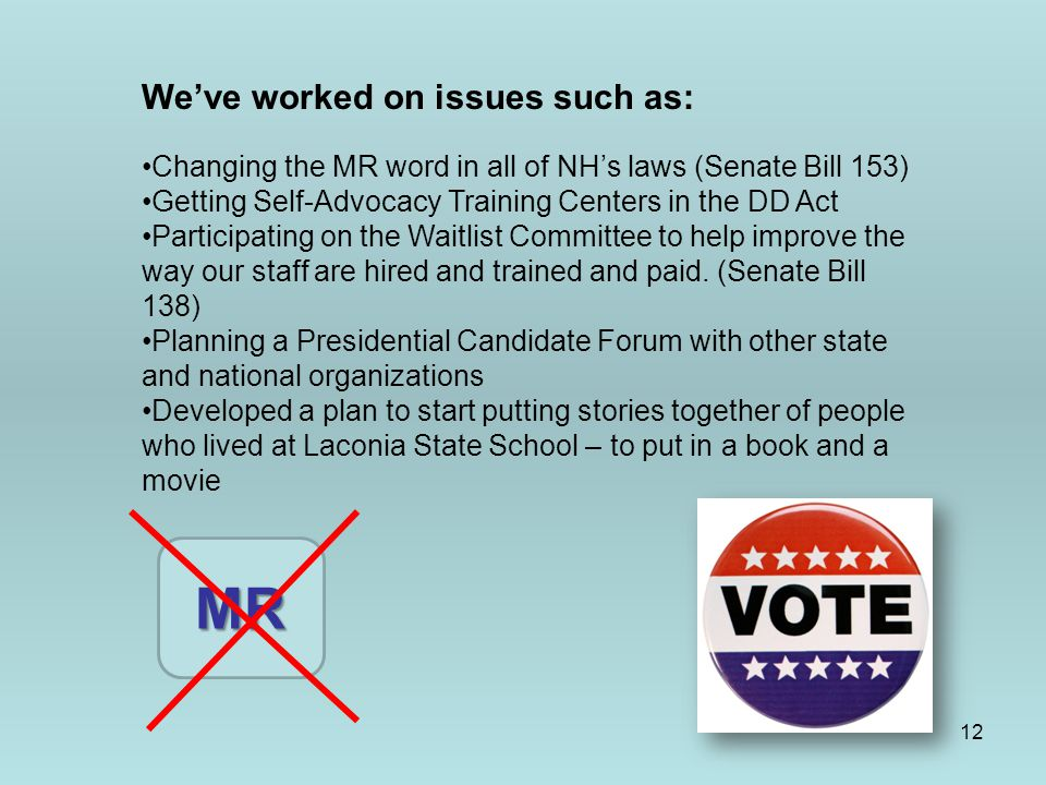 12 We've worked on issues such as: Changing the MR word in all of NH's laws (Senate Bill 153) Getting Self-Advocacy Training Centers in the DD Act Participating on the Waitlist Committee to help improve the way our staff are hired and trained and paid.