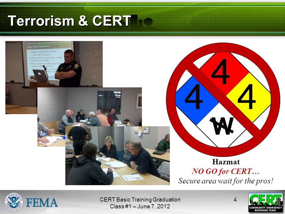 Terrorism & CERT 4CERT Basic Training Graduation Class #1 – June 7, 2012 Hazmat NO GO for CERT… Secure area wait for the pros.