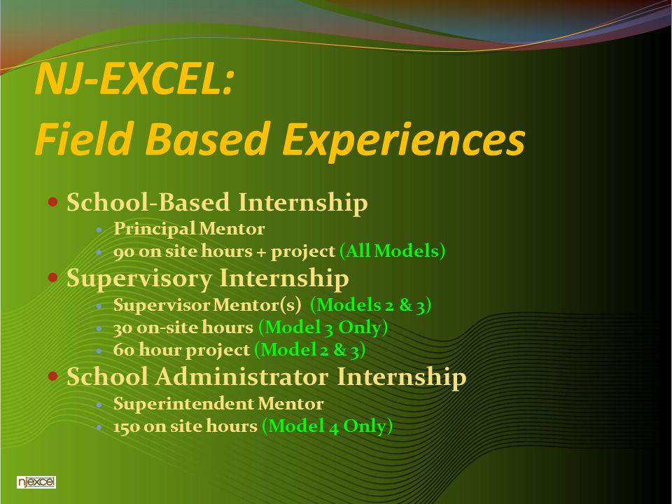 NJ-EXCEL: Field Based Experiences School-Based Internship Principal Mentor 90 on site hours + project (All Models) Supervisory Internship Supervisor M