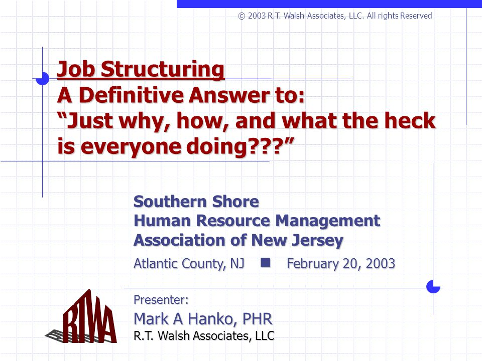 Job Structuring A Definitive Answer to: Just why, how, and what the heck is everyone doing??? Southern Shore Human Resource Management Association of New Jersey Atlantic County, NJ February 20, 2003 Presenter: Mark A Hanko, PHR R.T.