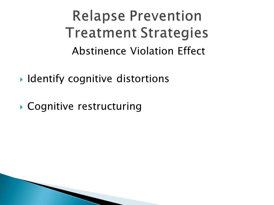 Abstinence Violation Effect  Identify cognitive distortions  Cognitive restructuring