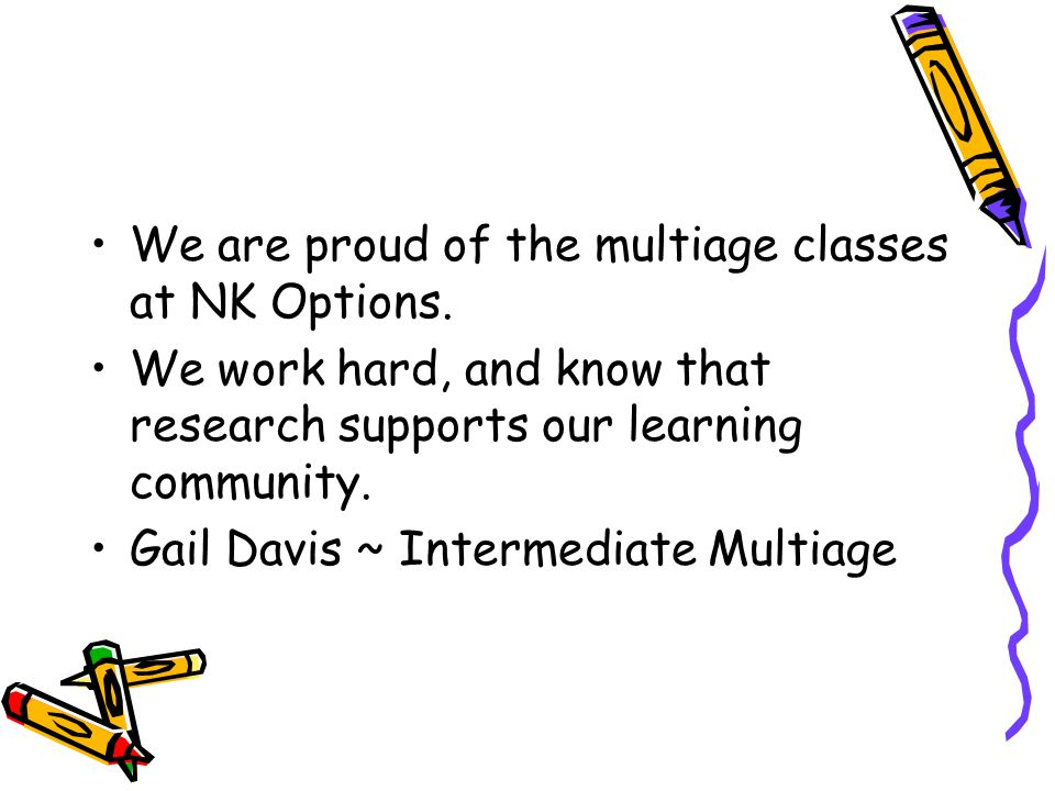 We are proud of the multiage classes at NK Options.