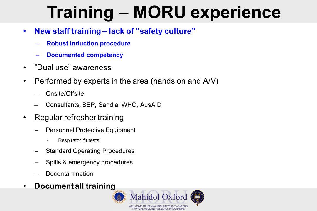 Training – MORU experience