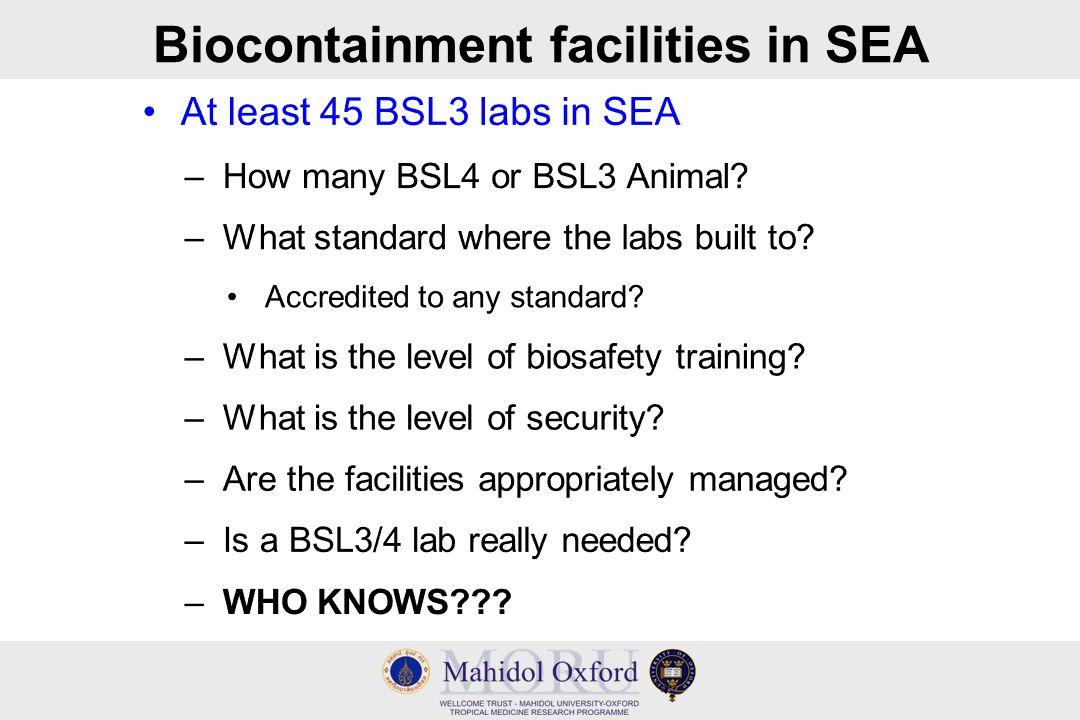 Biocontainment facilities in SEA