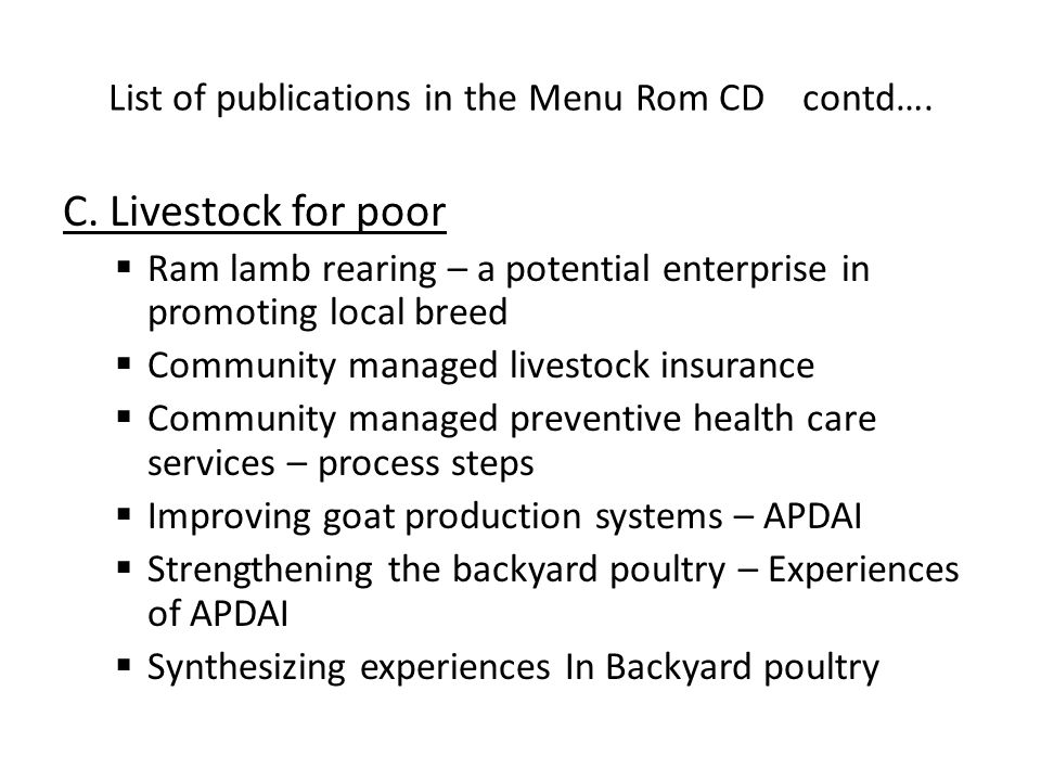 List of publications in the Menu Rom CD contd…. C.
