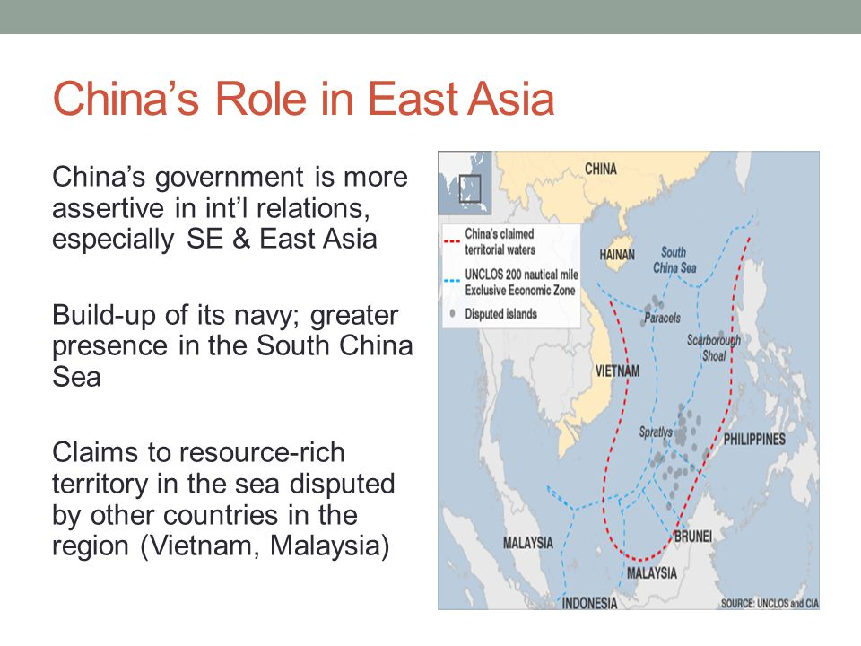 China's Role in East Asia China's government is more assertive in int'l relations, especially SE & East Asia Build-up of its navy; greater presence in the South China Sea Claims to resource-rich territory in the sea disputed by other countries in the region (Vietnam, Malaysia)