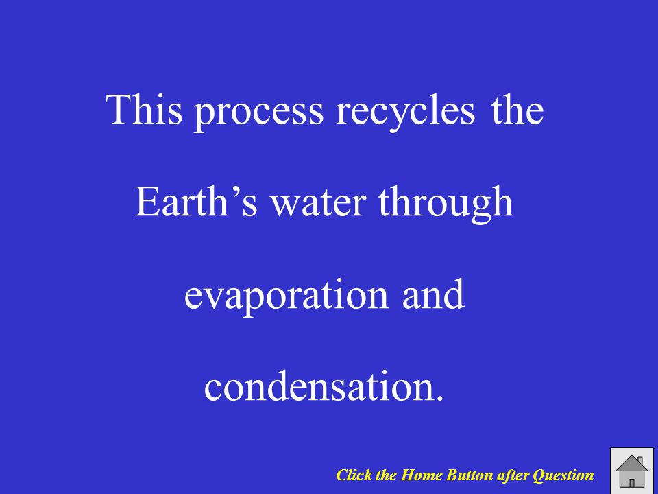 This process recycles the Earth's water through evaporation and condensation.
